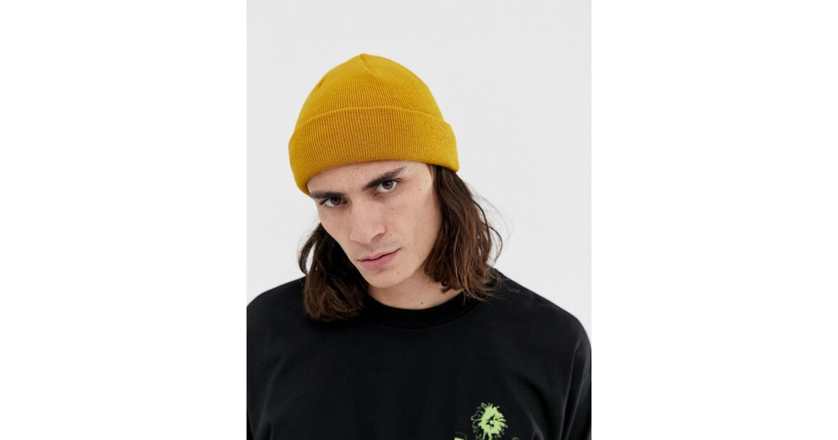 d64f4a391 ASOS Yellow Fisherman Beanie In Mustard for men