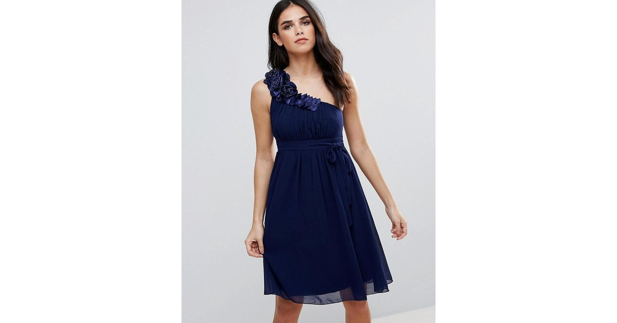b4cd905a43a Little Mistress One Shoulder Prom Dress With Floral Corsage in Blue - Lyst