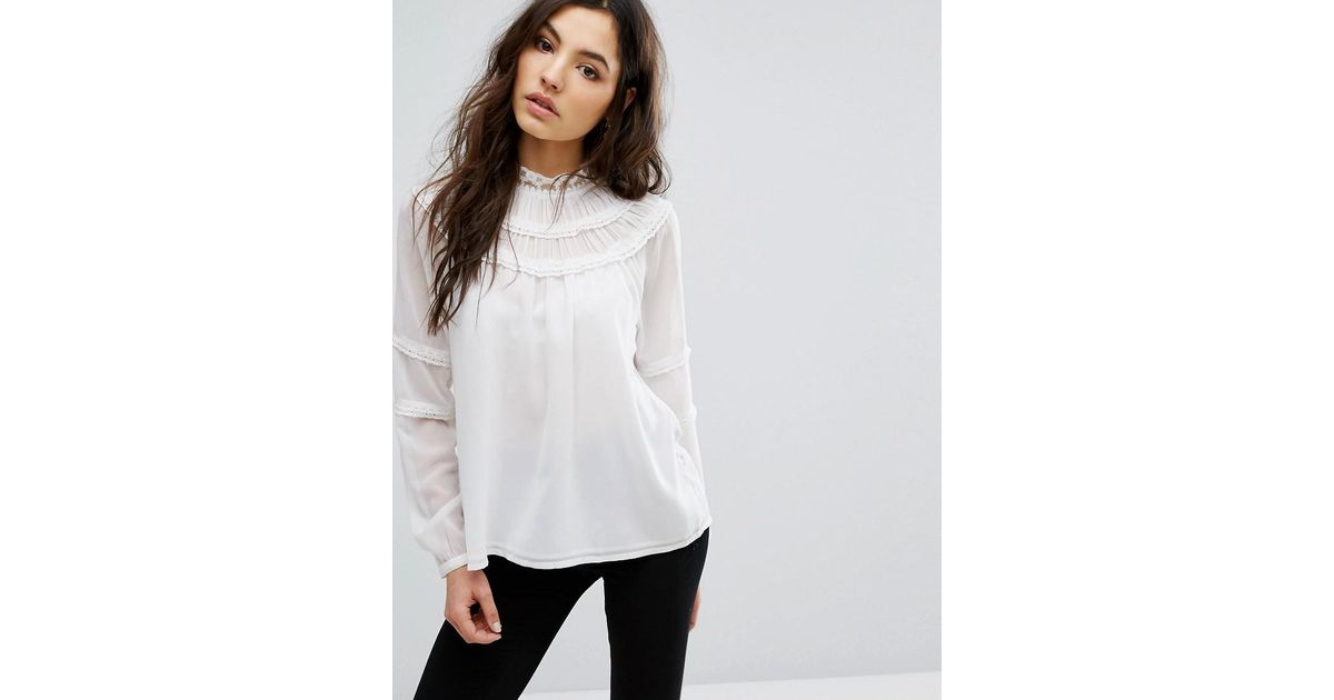 Longline Shirt with Fluted Sleeve - White Vila Online Cheap Price BGswl40