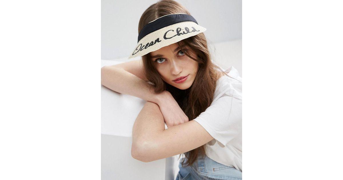 Asos Ocean Child Slogan Straw Visor Hat in Brown - Lyst d69af08db89
