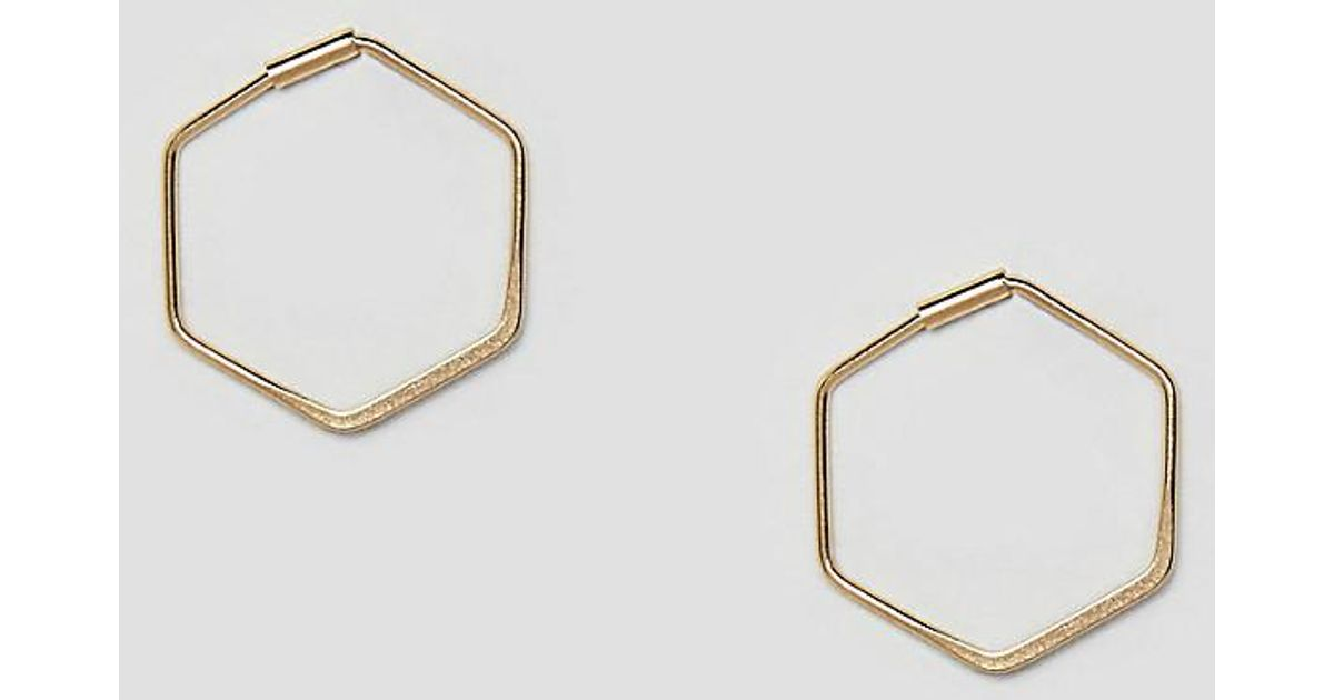 0c360a96bb336 Orelia - Metallic Gold Plated Hexagon Hoop Earrings - Lyst
