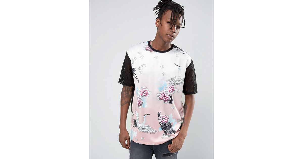 32842abd5eab Lyst - Jaded London T-shirt In Floral Print in Pink for Men