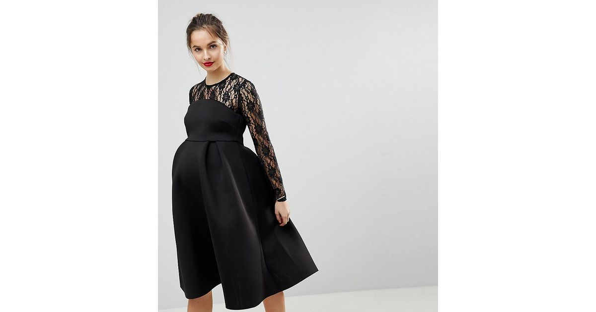 Asos Lace Long Sleeve Crop Top Prom Dress In Black Lyst