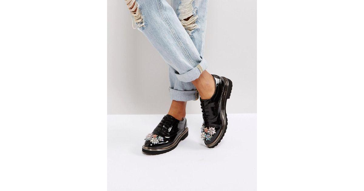 Lyst - Asos Mayflower Embellished Flat Shoes In Black
