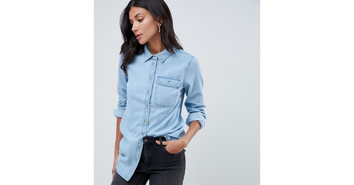 6f38886496 ASOS Asos Design Tall Denim Shirt With Pocket In Midwash Blue in Blue - Lyst