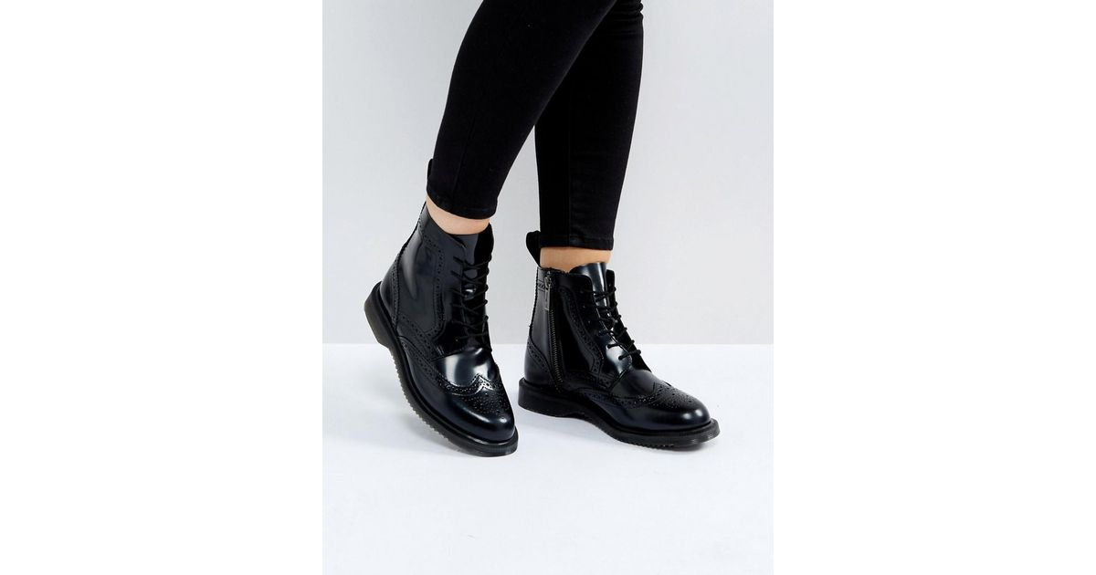 b6bc9066cb3 Lyst - Dr. Martens Kensington Delphine Brogue Black Lace Up Ankle Boots in  Black