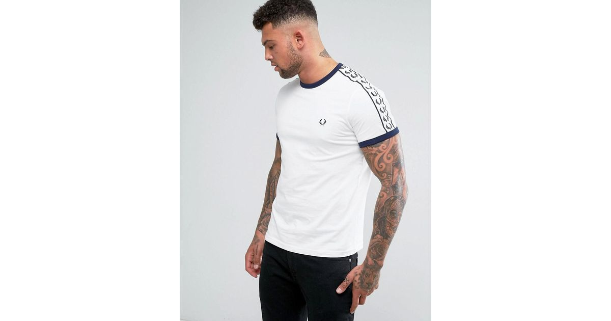 ... Lyst - Fred Perry Slim Fit Sports Authentic Taped Sleeve T-shirt In  White in ... a253bdcc30a7