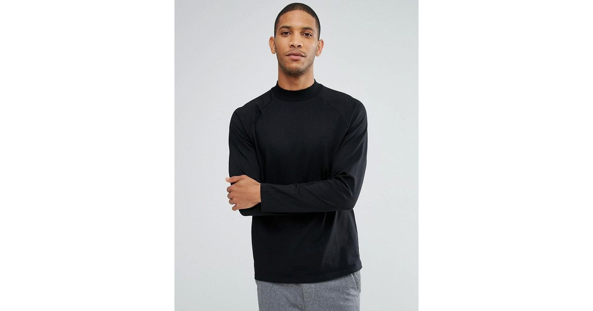 2018 Cheap Price DESIGN relaxed long sleeve raglan t-shirt with high neck in black - Black Asos Outlet Browse HUbLSB