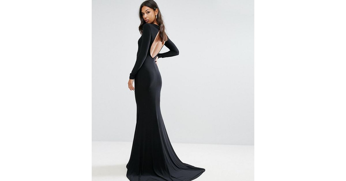 Lyst Club L Open Back Maxi Dress With Fishtail In Black