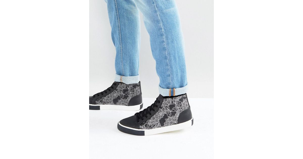 free shipping original cheap very cheap ASOS Mid Top Trainers In Black And White With Contrast Pattern wholesale price cheap price sale with mastercard NtbnQI