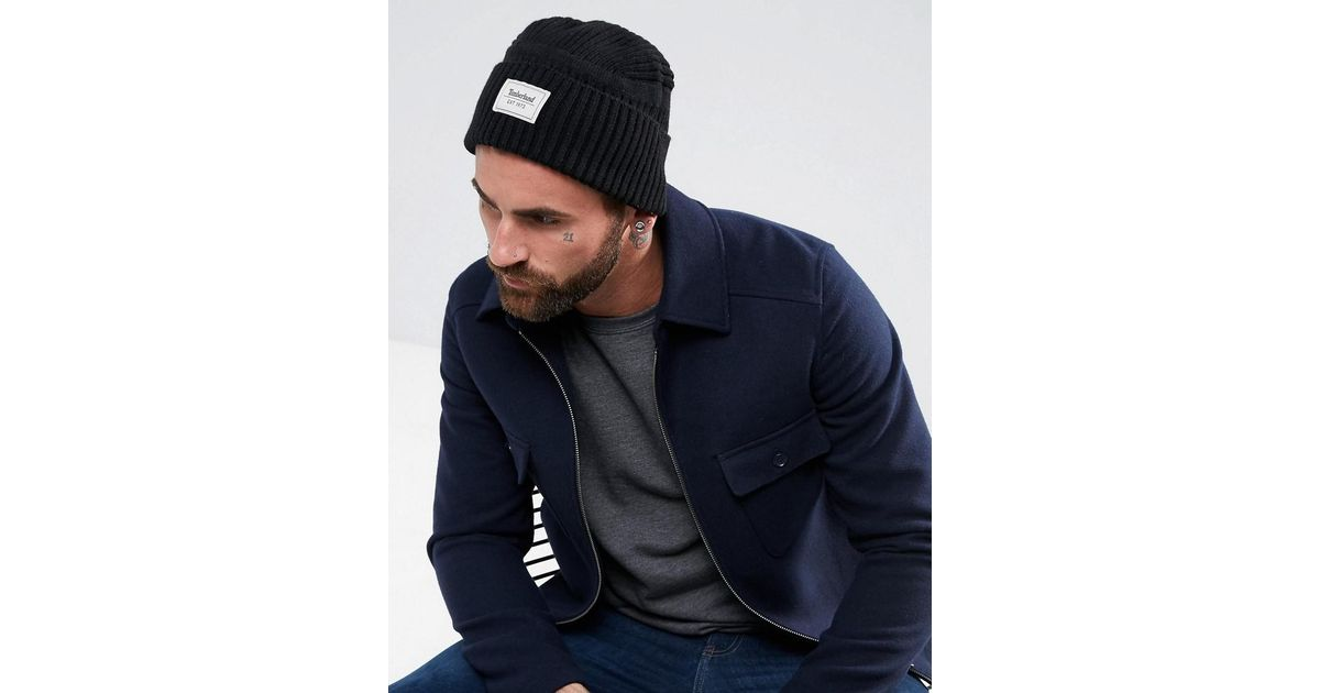 d24ddcaddf7 Lyst - Timberland Gulf Beach Ribbed Beanie Label Logo In Black in Black for  Men