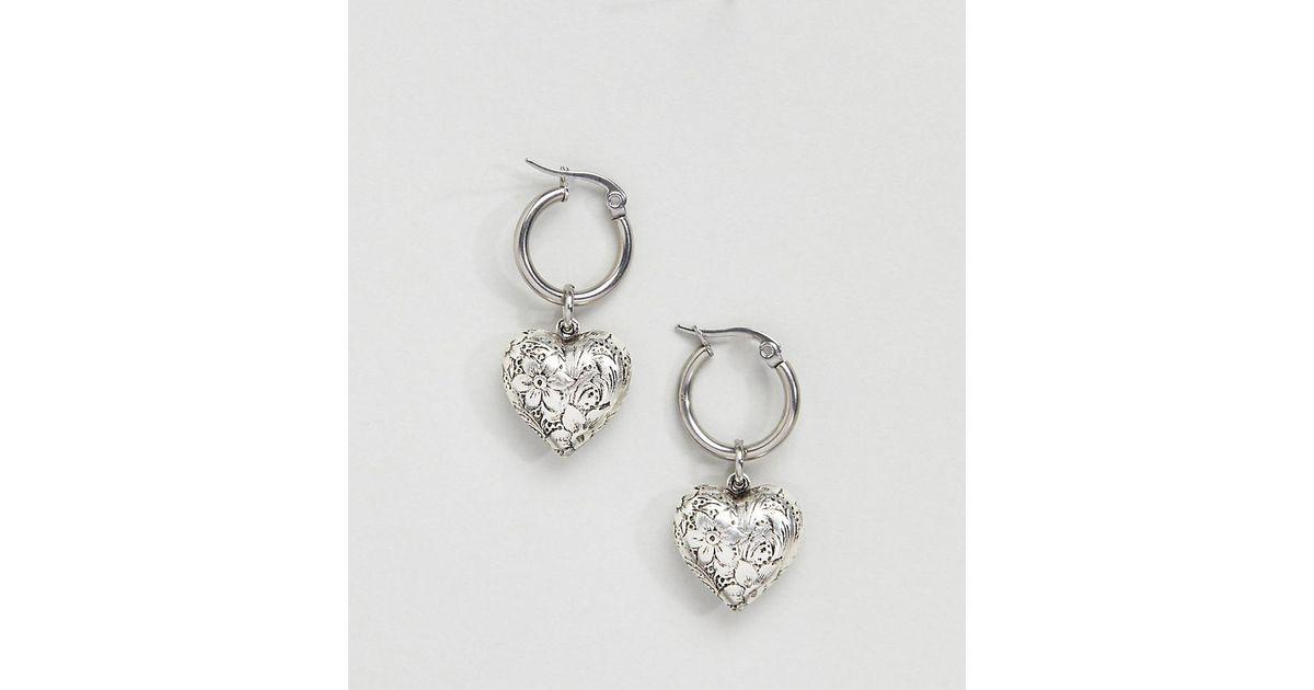 53f8c2554 Silver Hoop Earrings With Heart Charm - The Best Produck Of Earring