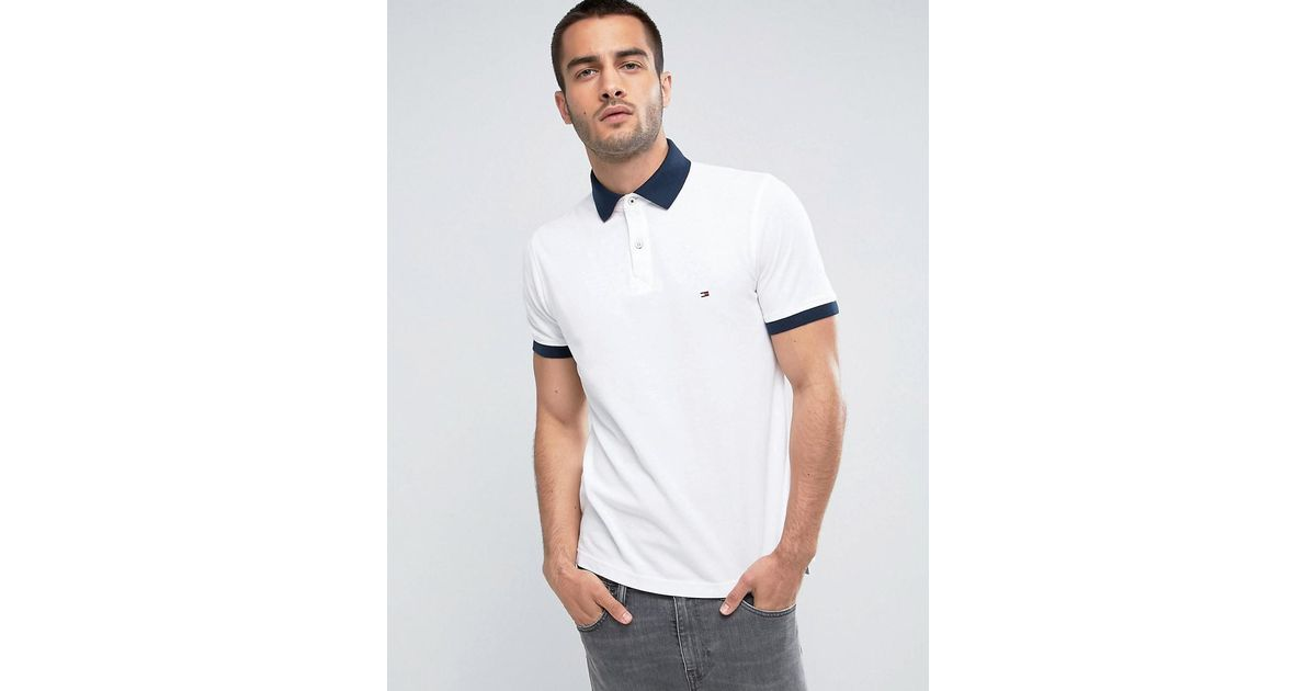 09dcaaa9 Lyst - Tommy Hilfiger Contrast Cuff Polo Logo Collar Reverse Slim Fit In  White in White for Men