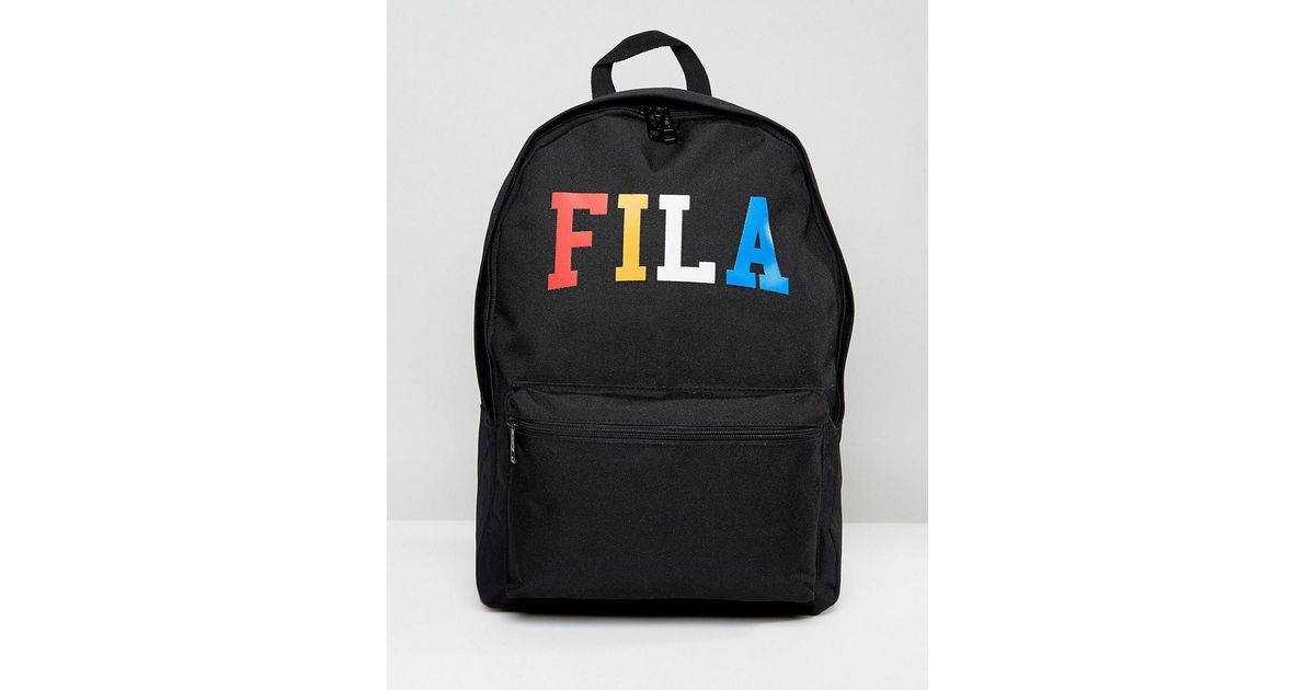 Lyst - Fila Vintage Fila Elliot Backpack With Multi Color Logo in Black for  Men