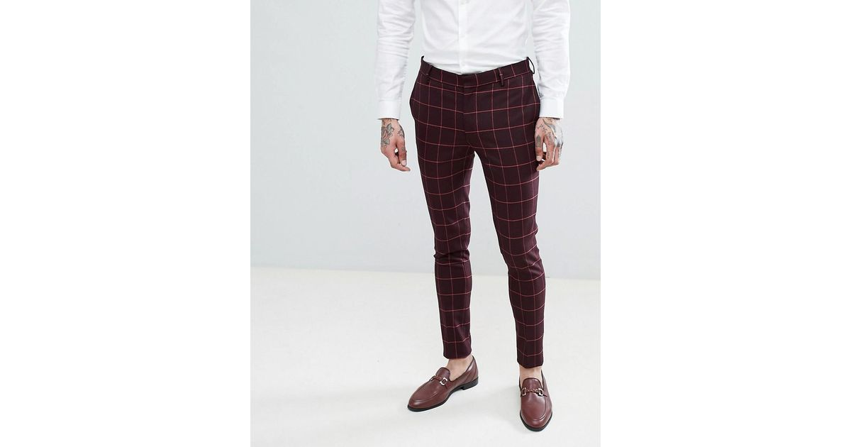 1e249bb5 ASOS Wedding Super Skinny Suit Trousers In Wine And Orange Grid Check in  Red for Men - Lyst