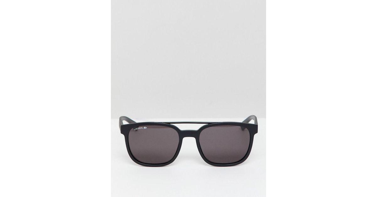 cbbe59b722 Gafas de sol cuadradas con barra doble L883S de Lacoste de hombre de color  Negro - Lyst