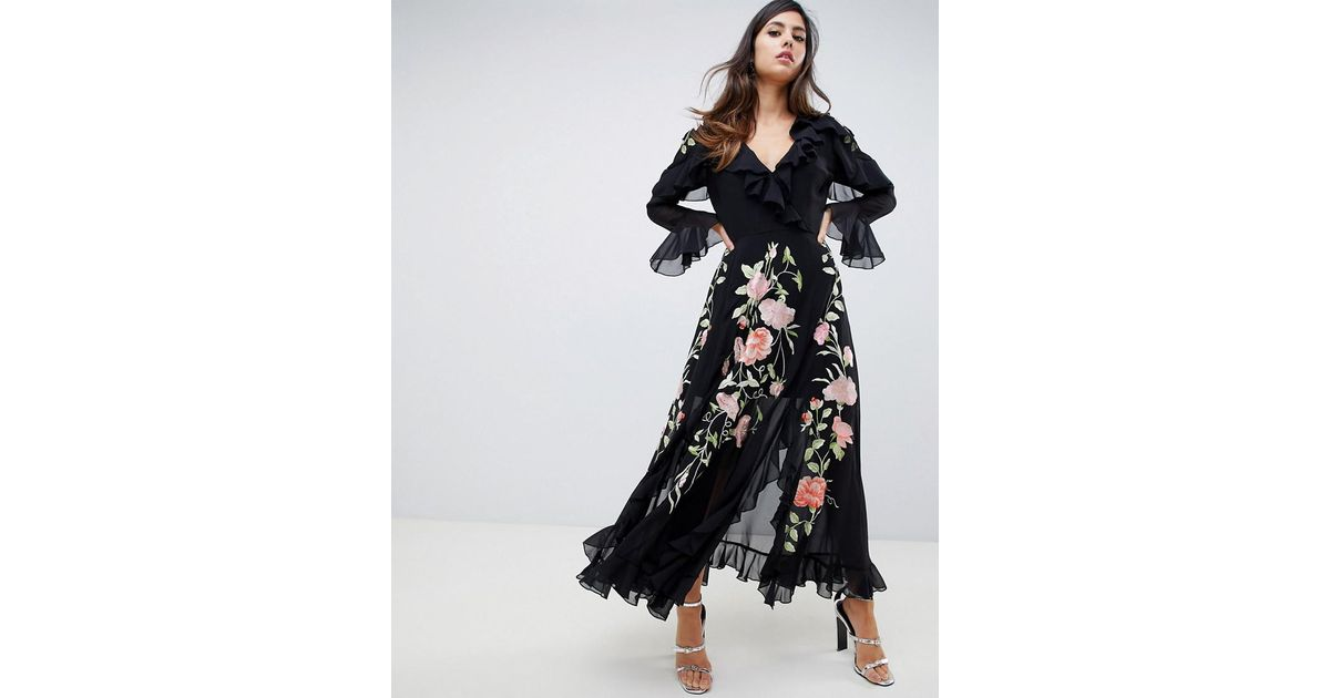2db443cce679 ASOS Embroidered Wrap Maxi Dress With Long Sleeves in Black - Lyst