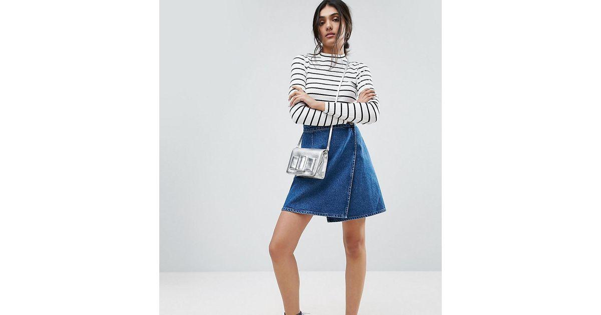 9b01eecd78d6 ASOS Denim Wrap Skirt In Mid Wash Blue in Blue - Lyst