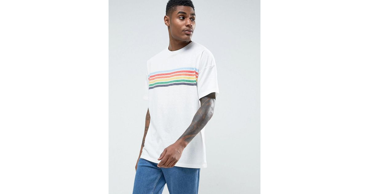 4c343962a4 ASOS Asos Oversized T-shirt With Chest Rainbow Stripe in White for Men -  Lyst
