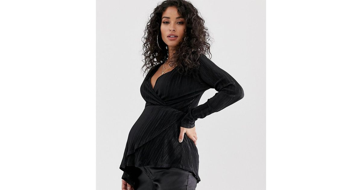 131a8be17bd5e ASOS Asos Design Maternity Long Sleeve Wrap Top In Plisse With Asymmetric  Hem in Black - Lyst