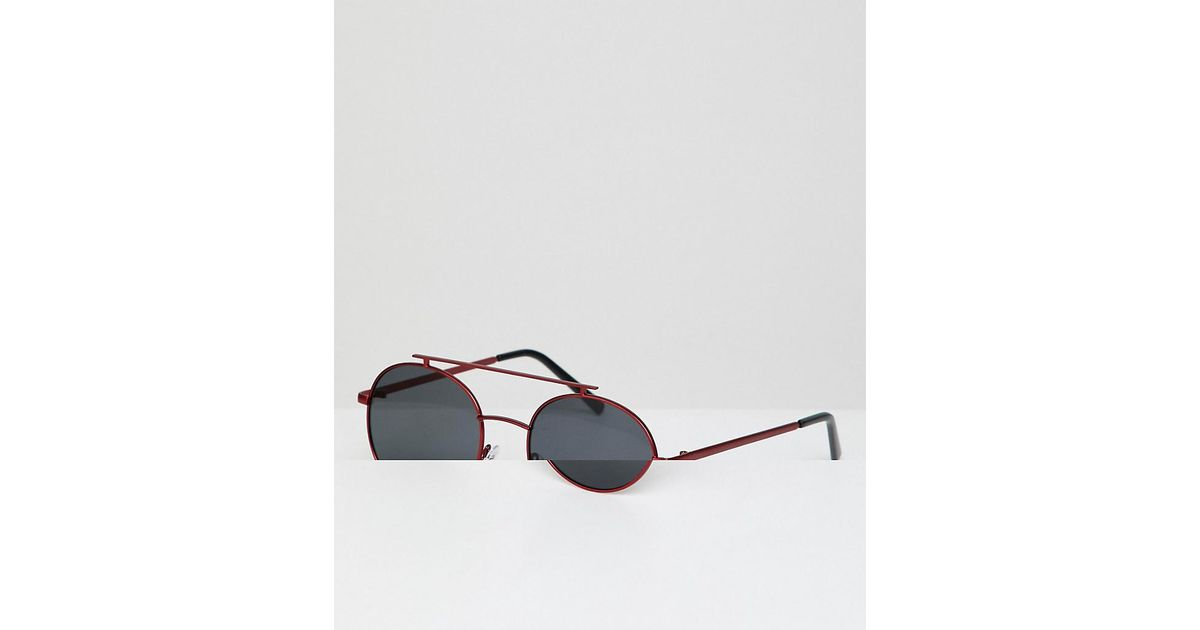 e791d7e02fcdc A.J. Morgan Round Sunglasses With Red Lens in Red for Men - Lyst