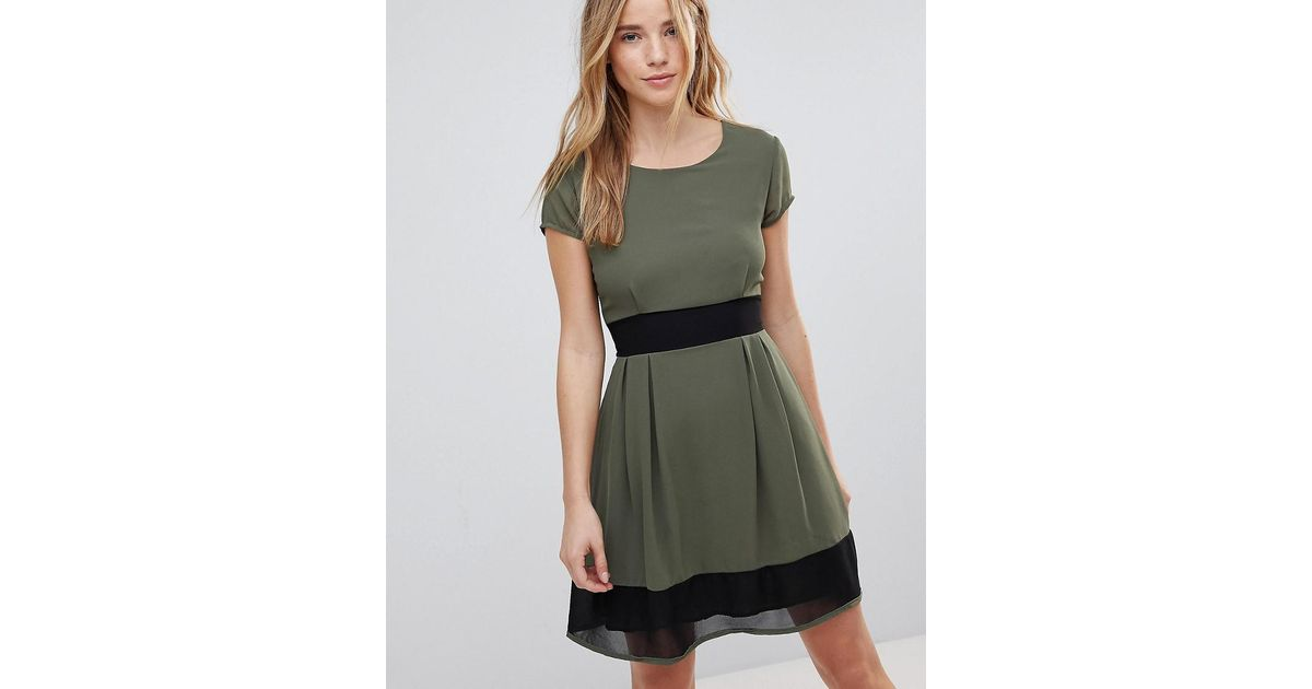 Get Authentic For Sale Skater Dress With Stripe Waistband And Trim - Khaki/black Wal G. Cheap Footlocker Pictures Sale Original bfeuX