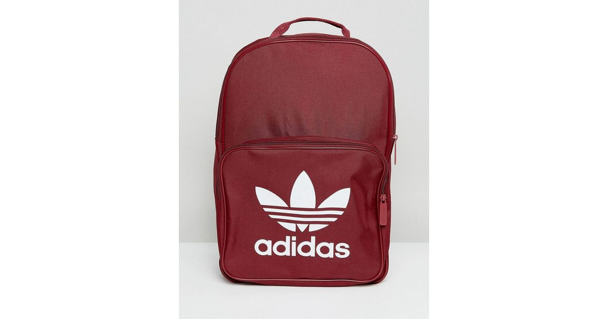 Lyst - adidas Originals Originals Classic Burgundy Backpack With Trefoil  Logo in Red