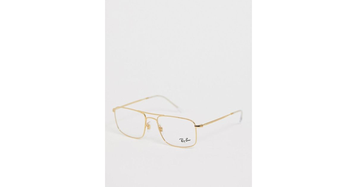 f0c30e309 Ray-Ban 0rx6434 Square Aviator Glasses With Demo Lenses in Metallic for Men  - Lyst