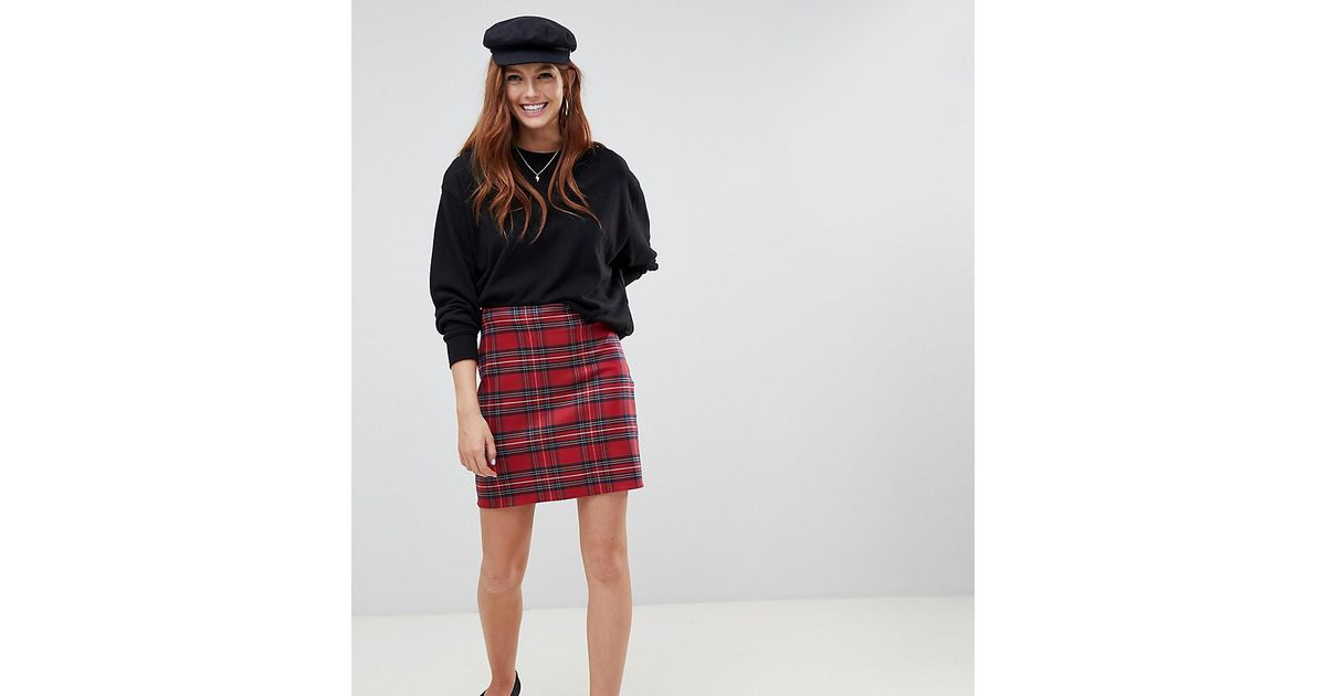 c7f1c7ec8 New Look Plaid A Line Skirt in Red - Lyst