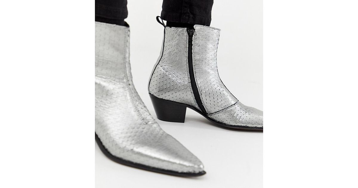 Lyst Asos Wide Fit Stacked Heel Western Chelsea Boots In Silver