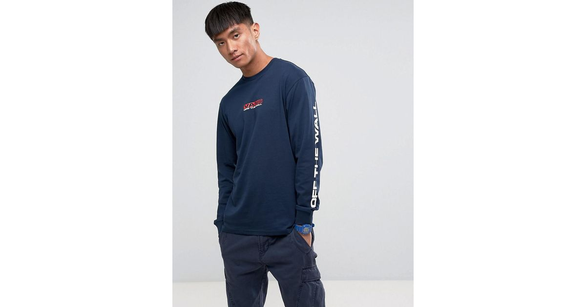 c72de14f45 Vans Side Waze Long Sleeve T-shirt With Arm Print In Navy Va36gbnvy in Blue  for Men - Lyst