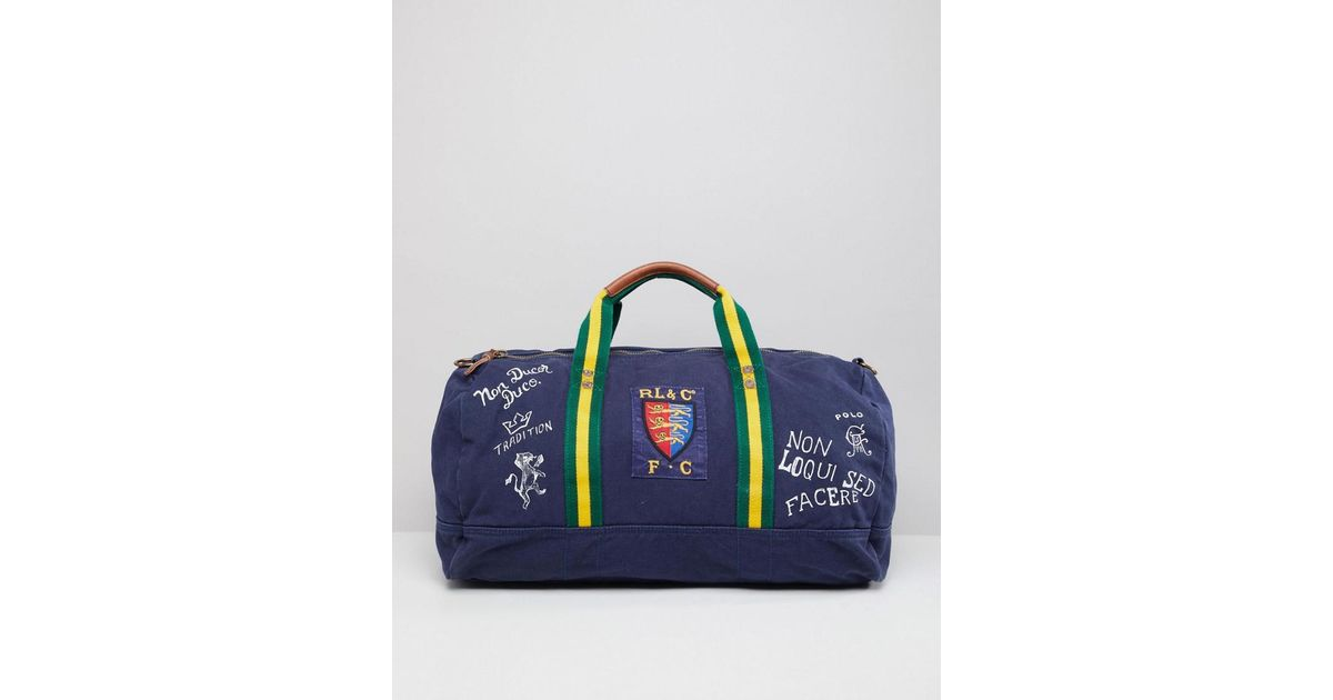 298906eb9322 Polo Ralph Lauren Canvas Large Player Logo Duffel Bag In Navy in Blue for  Men - Lyst