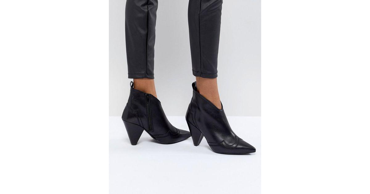 03245371d74c Kurt Geiger Kurt Geiger Black Leather Western Heeled Ankle Boots in Black -  Lyst
