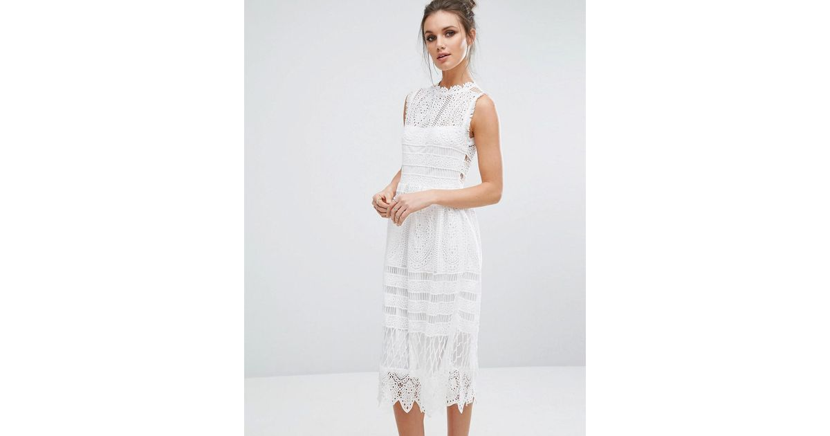 ab11e66af259 Boohoo Lace Midi Skater Dress in White - Lyst