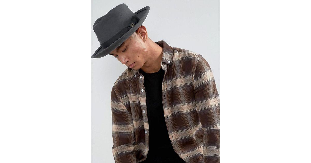 Brixton Swindle Fedora Hat in Gray for Men - Lyst 8aa1a4f66b9