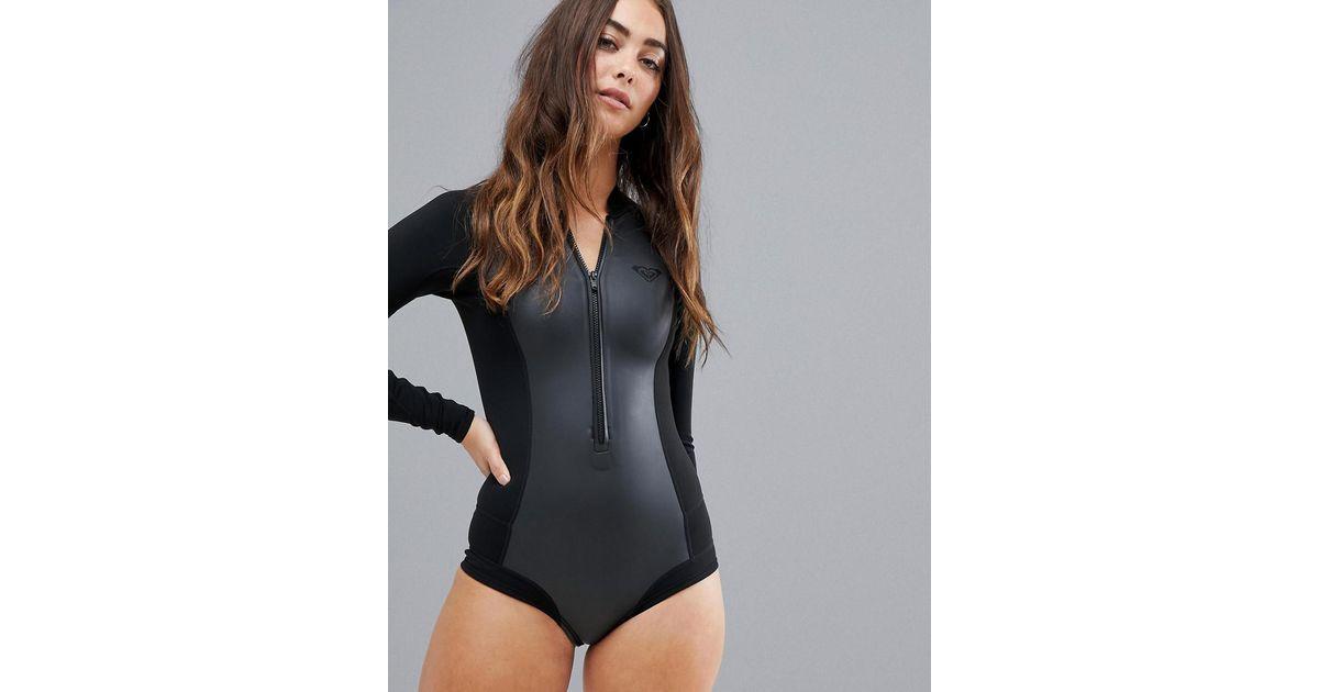 a8102213e7 Lyst - Roxy Satin Cheeky Long Sleeve Neoprene Wetsuit In Black in Black