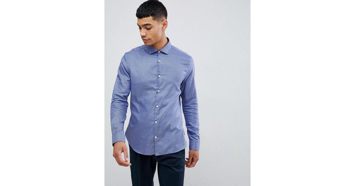 f5bd925898 Moss Bros. Men's Blue Moss London 100% Cotton Long Sleeve Skinny Shirt ...
