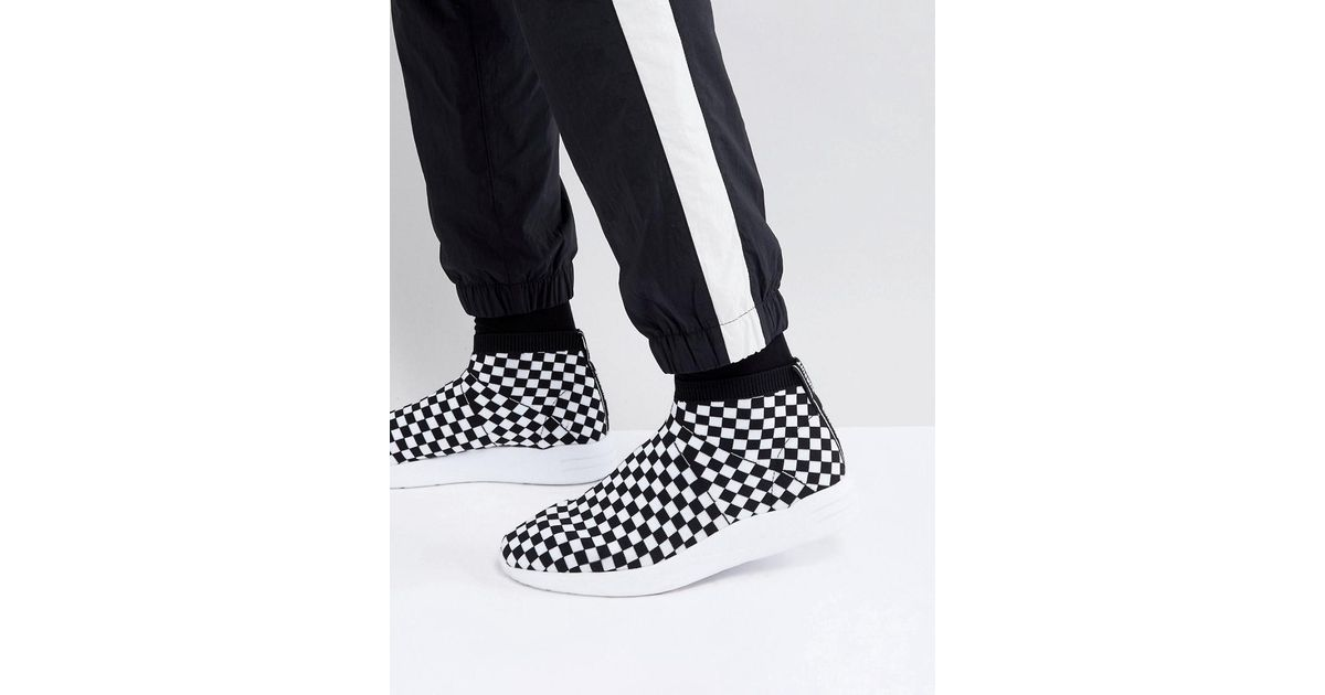 Sock Boot Trainers In Checkerboard - White Asos hSzwP8v9