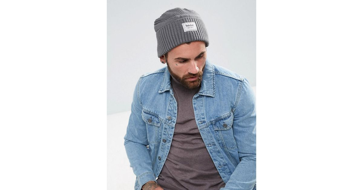 4544cf44644 Lyst - Timberland Gulf Beach Ribbed Beanie Label Logo In Grey in Gray for  Men