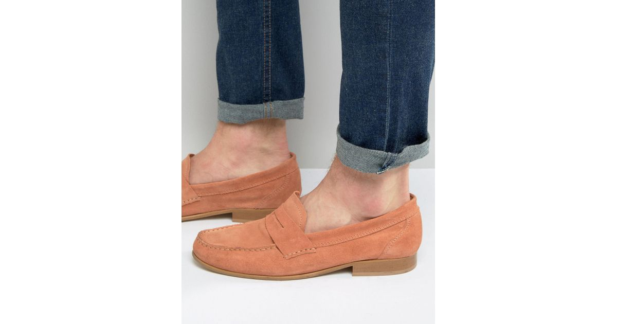 318970b94f1 Lyst - ASOS Penny Loafers In Coral Suede With Natural Sole for Men
