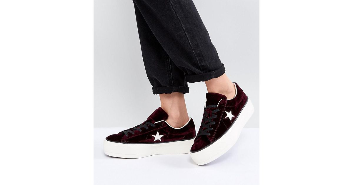Converse One Star Platform Ox In Burgundy in Red - Lyst fe2e3efeb