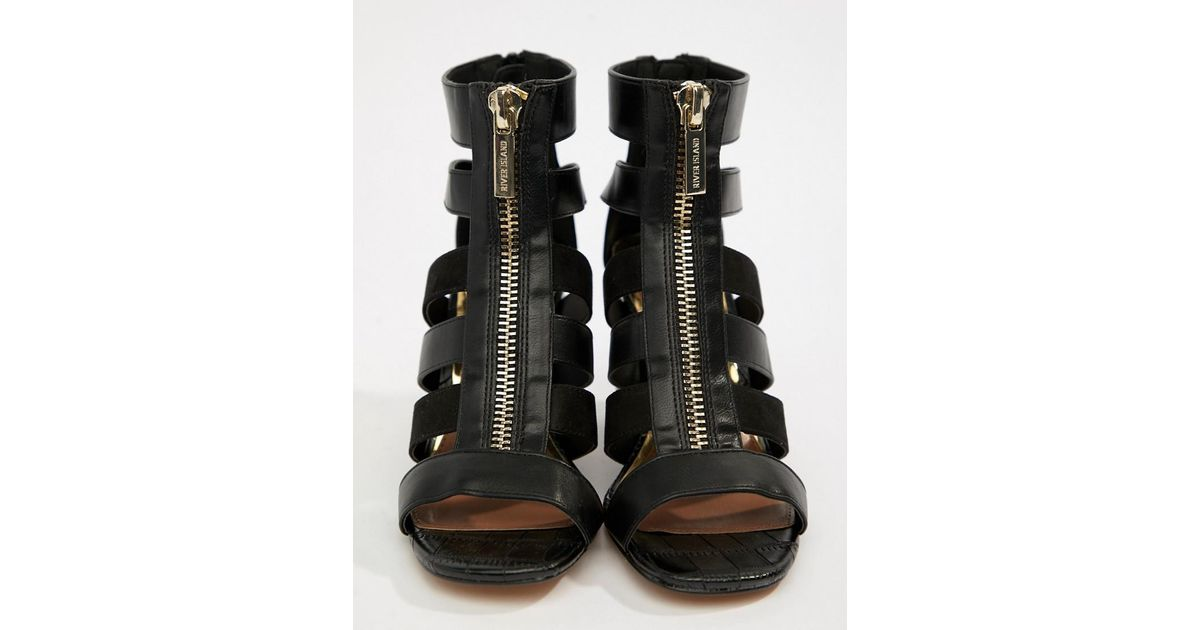 1780234e786 Lyst - River Island Zip Front Cage Heels In Black in Black