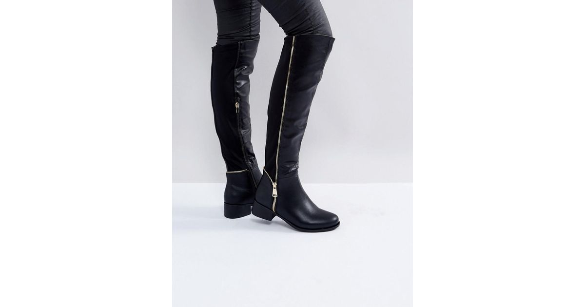 Truffle Collection Zip Detail Elastic Flat Over Knee Boot 8gCfIu1l6