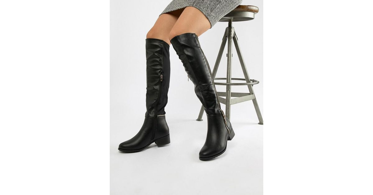 c24fec6ba39 Truffle Collection Zip Detail Elastic Flat Over Knee Boot in Black - Lyst