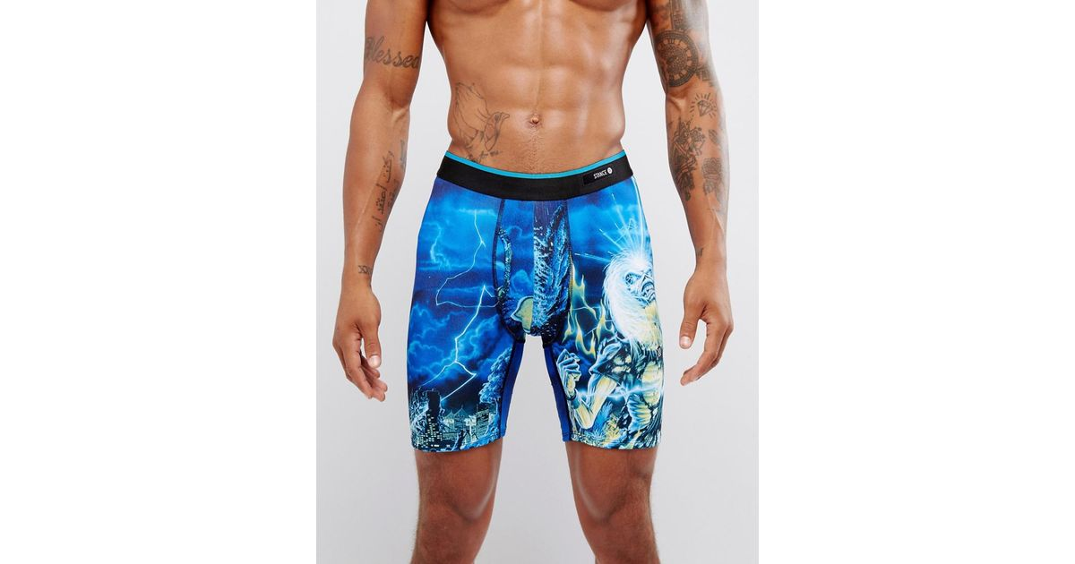 44be59d351eb4 Stance Trunks With Iron Maiden Print in Blue for Men - Lyst