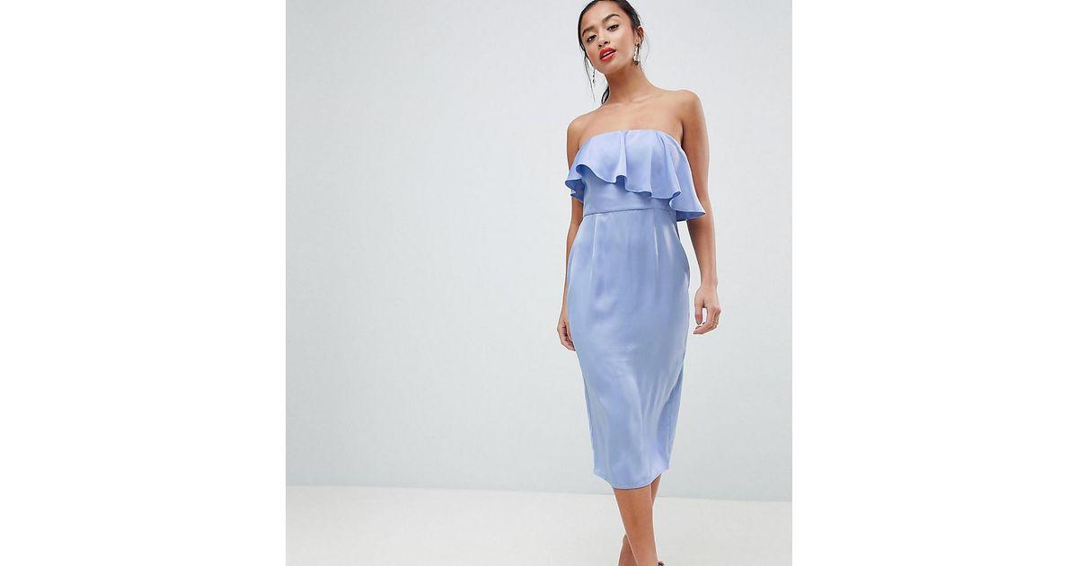 301c1760be20a Lyst - ASOS Asos Design Petite Soft Bandeau Crop Top Pencil Dress in Purple