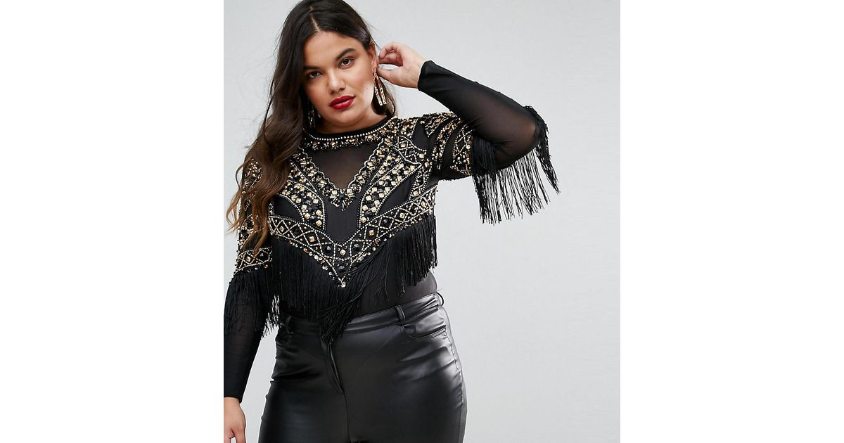 c2a8d93810 Lyst - A Star Is Born Plunge Front Embellished Bodysuit in Black