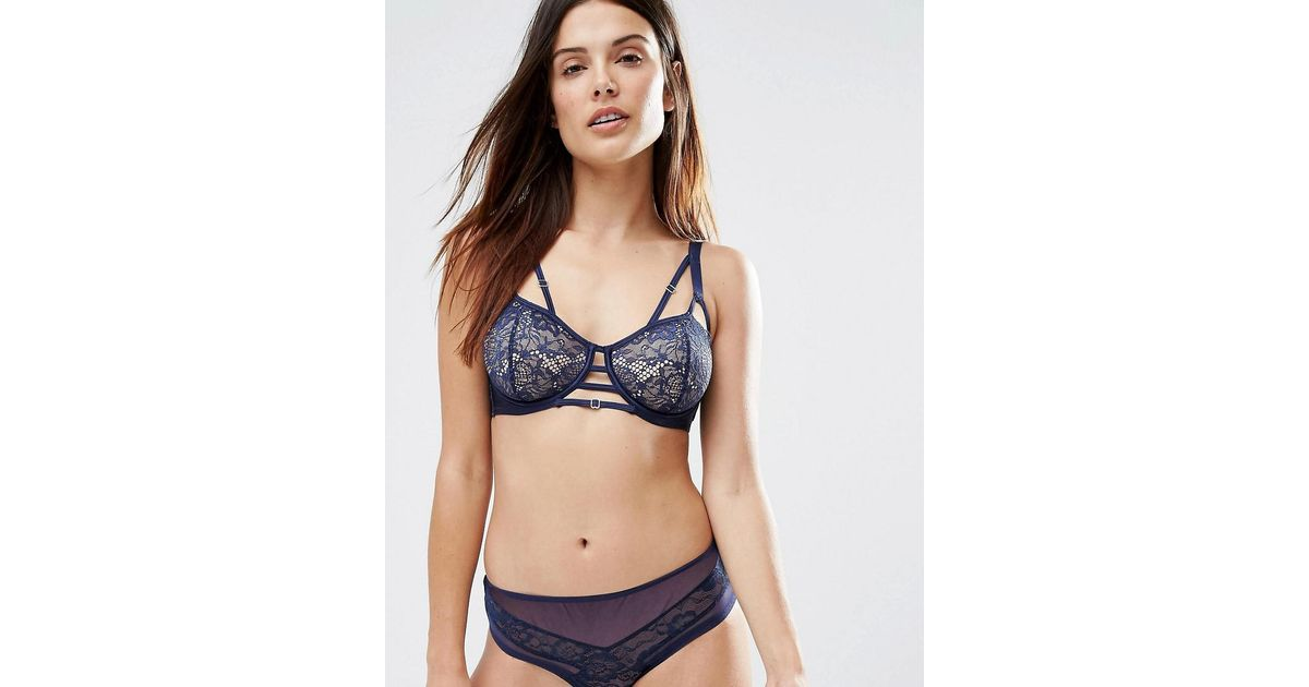 c4dfbd073 Wolf   Whistle B-g Cup Navy Lace Open Cup Bra in Blue - Lyst