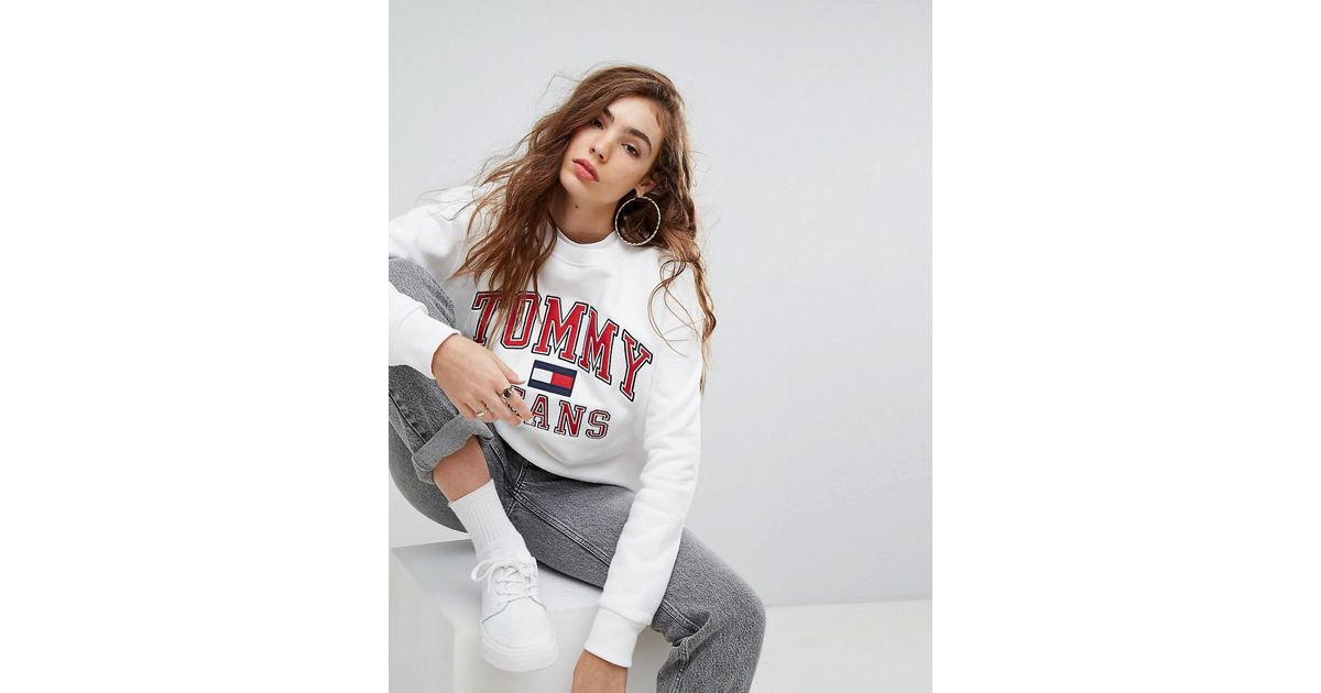 392c86ca0dd7 Lyst - Tommy Hilfiger Tommy Jeans 90s Capsule Logo Sweatshirt in White