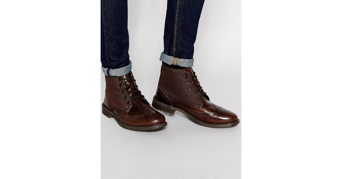 Lyst - Original Penguin Leather Brogue Boot in Brown for Men 2968e1df2012